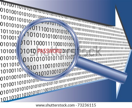 "Binary code and word ""password"" under magnifier glass. Software security concept image. - stock vector"