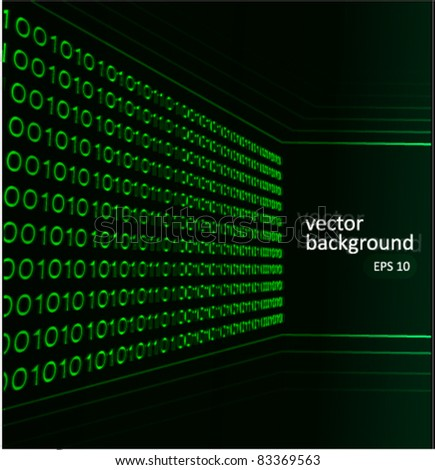 Binary code 3D background green vector illustration