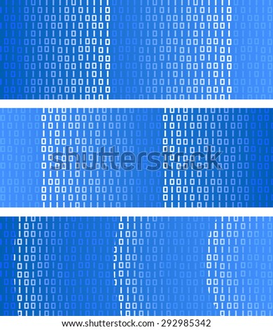 Binary data traveling on blue background. Technology global connection theme vector web banner design. - stock vector