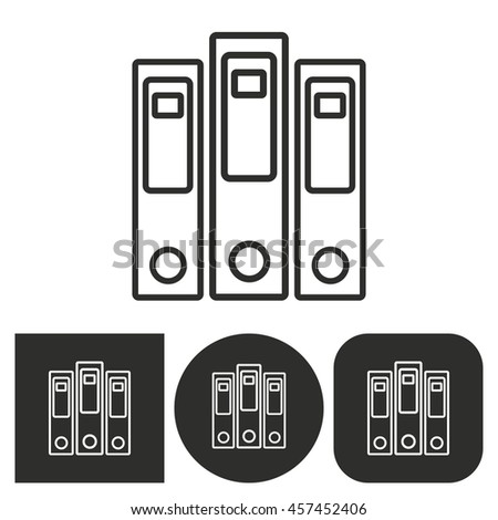 Binder - black and white icons. Vector illustration.