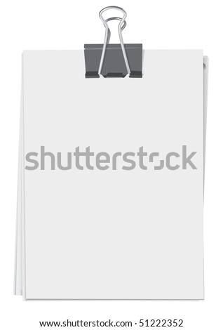 Binder clip and stack of paper sheets(vector, CMYK) - stock vector