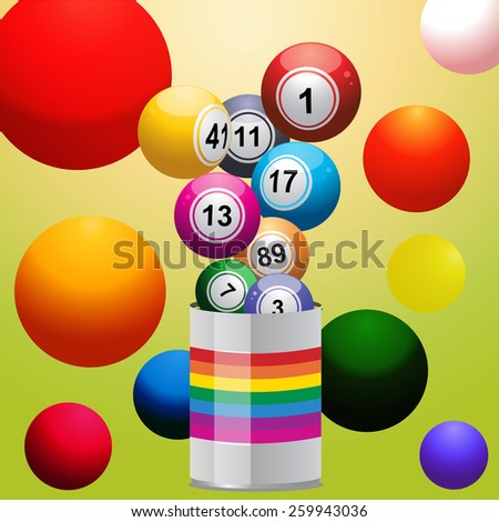 Bingo Balls coming out from a Tin of Colour and multicolour background - stock vector