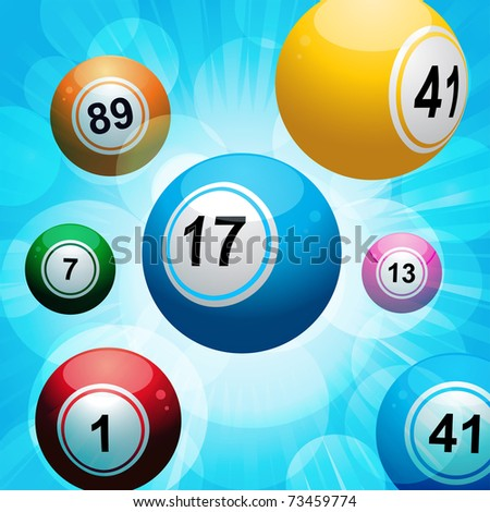 Bingo balls floating on a glowing blue background - stock vector
