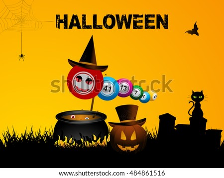Bingo Balls with Hat Over Halloween Background