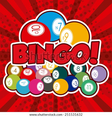 Bingo design over red background, vector illustration. - stock vector
