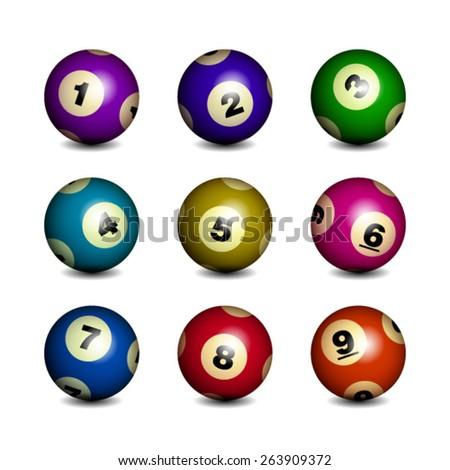 Bingo / Lottery Balls Isolated Over White Background - stock vector