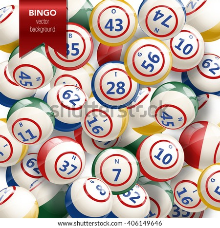Bingo or Lottery Background with Balls. Vector Illustration of bingo balls with numbers. Vector background for bingo games. Bingo background. Lottery background. - stock vector