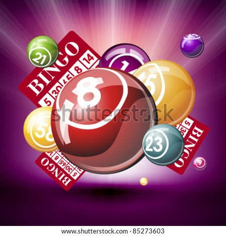 Bingo or lottery balls and cards - stock vector
