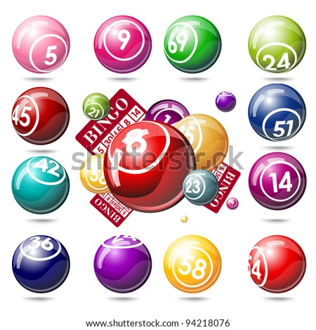 Bingo or lottery balls and cards. Isolated on white background - stock vector