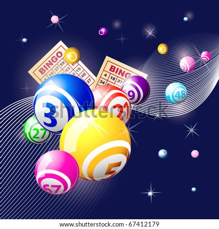 Bingo or lottery balls and cards on blue background - stock vector