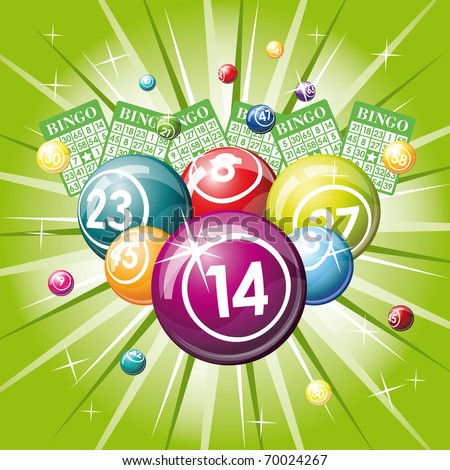 Bingo or lottery balls and cards on green background - stock vector