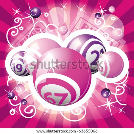 bingo or lottery pink and violet balls - stock vector
