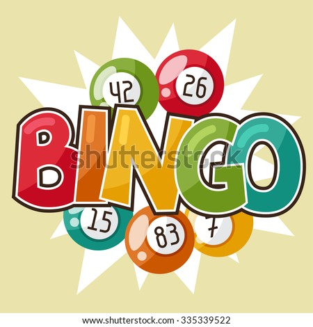 Bingo or lottery retro game illustration with balls. - stock vector