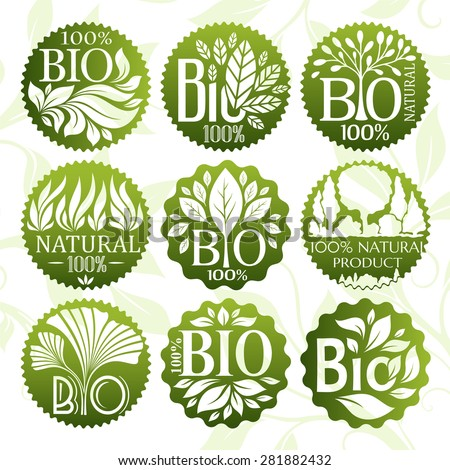 Bio and natural product labels set. - stock vector
