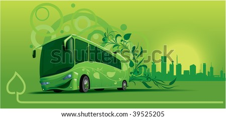 Bio-bus under art-decor background - stock vector