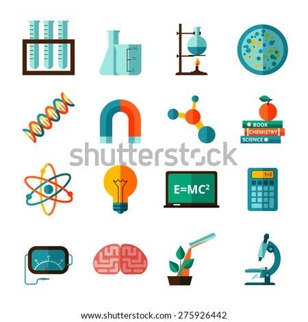 Bio chemistry experimental science laboratory research flat icons collection with microscope and retort abstract isolated vector illustration - stock vector