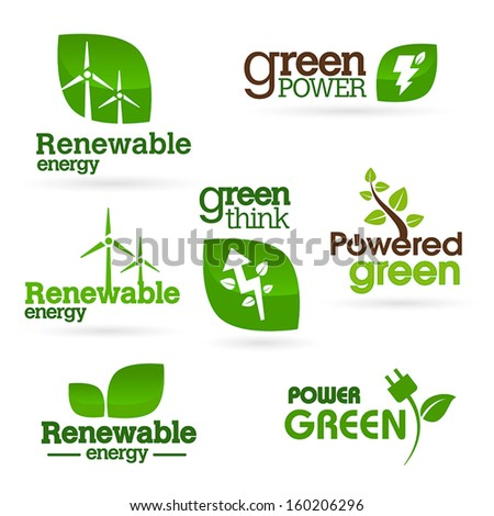 Bio - Ecology - Green - Energy icon set - stock vector