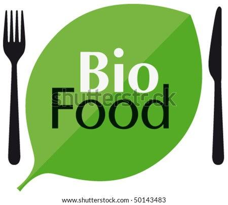 BIO FOOD with cutlery and leaf - stock vector