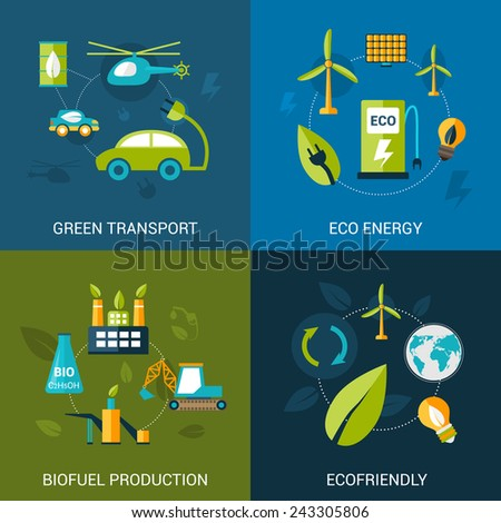 Bio fuel design concept set with green transport eco energy biofuel production flat icons isolated vector illustration - stock vector
