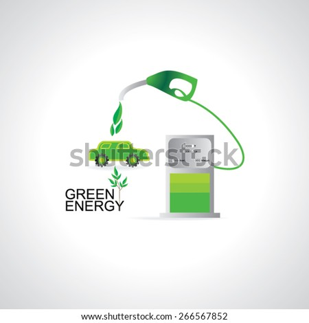 bio fuel pump with fueling the car  - stock vector