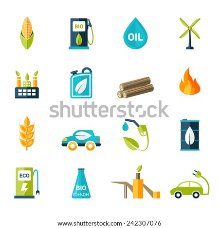 Bio fuel solar and wind electricity industry icons set isolated vector illustration - stock vector