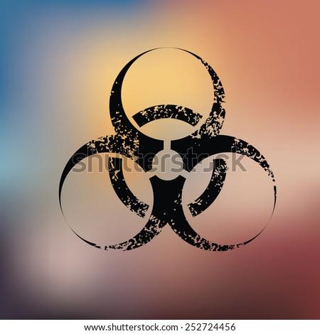 Bio hazard turbine design on blur background,grunge vector - stock vector