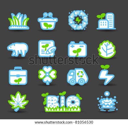 bio icons - stock vector
