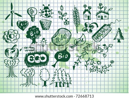 bio icons on old paper background