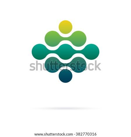 Bio Info Tech logotype. Minimalistic flat design style logo - stock vector