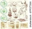 bio, natural labels-original hand drawn collection - stock vector