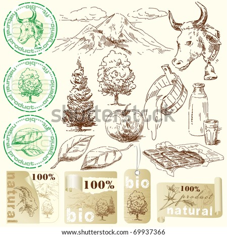 bio, natural labels-original hand drawn collection