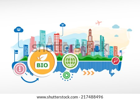 Bio product sign and cityscape background with different icon and elements. Design for the print, advertising. - stock vector