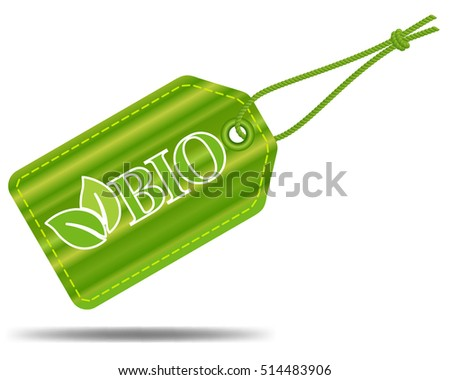 Bio product tag with string, gradient raw green label, vector design