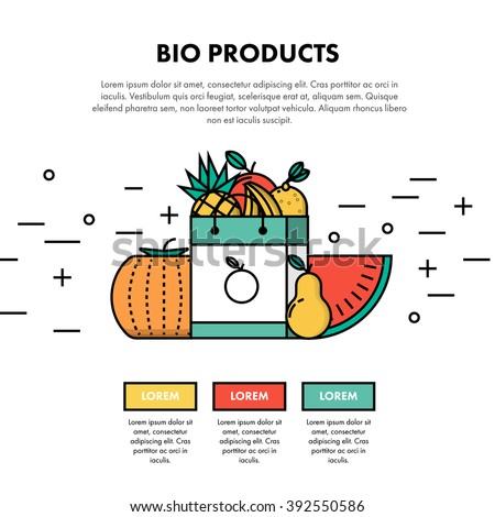 Bio Products One Page Web Design Template Layout. Infographic and web developing graphic resource. Promotion of healthy and fresh food. Vector Illustration