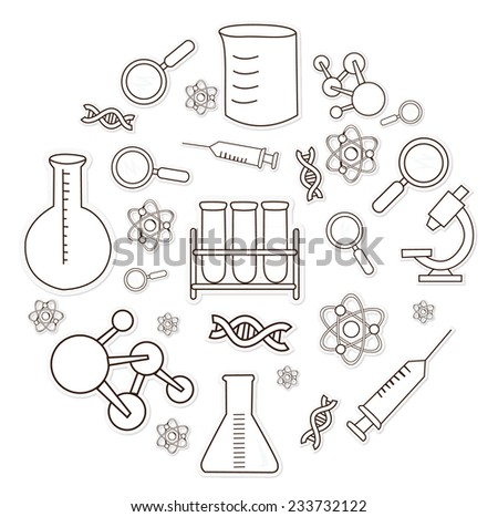 Bio Technology Object Hand Drawn Sketch Doodle - stock vector