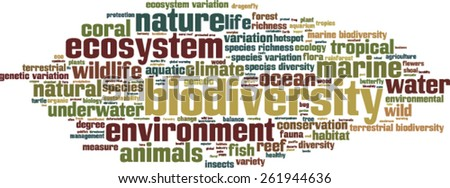 Biodiversity word cloud concept. Vector illustration