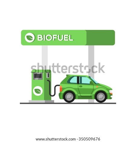 Biofuel. Eco fuel petrol station. Green energy. Save the earth, ecology, alternative energy. Vector illustration. - stock vector