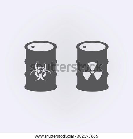 Biohazard and radiation symbol in barrel icon - stock vector
