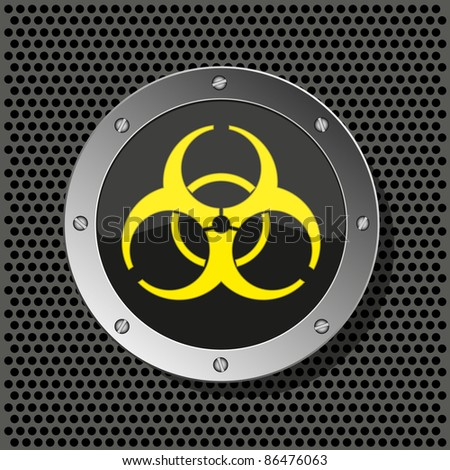 biohazard circle icon on metal plate for your design.Vector illustration - stock vector