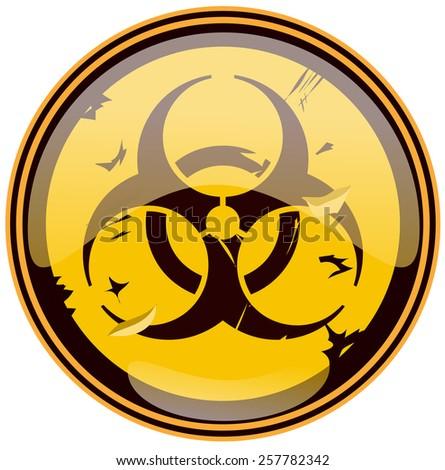Biohazard Round Grunge Sign, Vector Illustration isolated on White Background.  - stock vector