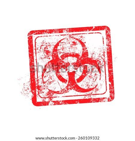 biohazard sign red grunge rubber stamp vector illustration. - stock vector