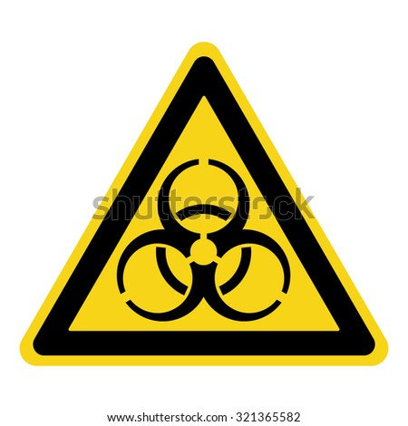 Biohazard Sign. Symbol of biological threat alert. Black hazard emblem isolated in yellow triangle on white background. Danger label. Warning icon. Stock Vector Illustration - stock vector