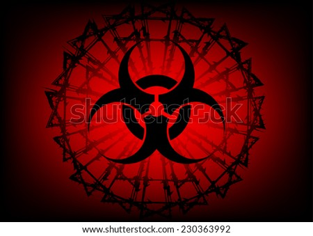 biohazard symbol and  barbed wire on red background - stock vector