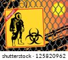 Biohazard warning on yellow sign. Danger - stock vector