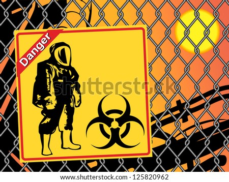 Biohazard warning on yellow sign. Danger - stock vector