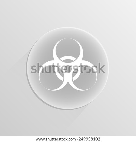 biohazard warning sign or logo on a white button with shadow  - stock vector