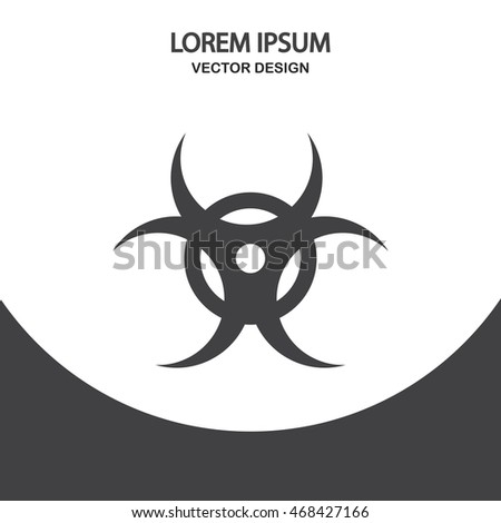 Biological danger sign icon on the background