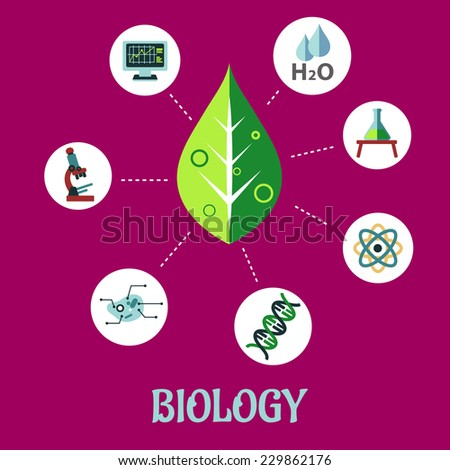 Biology flat concept design with a fresh green leaf surrounded by round icons depicting insects, microscope, computer, water, chemical analysis, atoms for physics and DNA for genetics, vector - stock vector