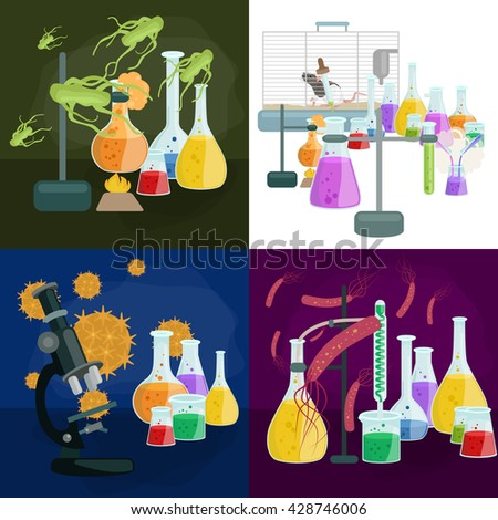 biology virus in technology medicine laboratory background, microbiology bacteria science research, macro bacteria vector,medical test equipment in science laboratory, chemistry lab research concept - stock vector