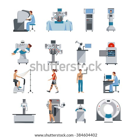 Bionic icons with surgical and diagnostic equipment robot assistant and people orthopedic prosthetics isolated vector illustration - stock vector